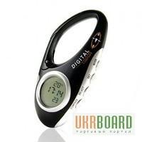Многофункциональный 3 в 1 походный цифровой компас в виде карабина + термометр + часы для