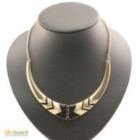 Колье полумесяц воротник ожерелье черное с золотом новое