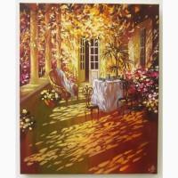 Картина маслом акрилом на холсте Городской Пейзаж Натюрморт Осень Живопись Ручная работа