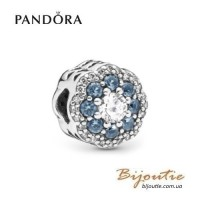Шарм pandora синий сияющий цветок 797851nmb