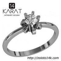Золотое кольцо с бриллиантом 0, 29 карат 16, 5 мм. Кольцо для предложения Белое золото Новое