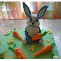 Торт на годик девочке Зайчик с морковками