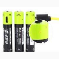 Батарейка аккумулятор ААА 1, 5V ZNTER заряд от micro USB 400 Mah