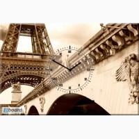 Часы настенные на холсте Париж сепия 40х60 см