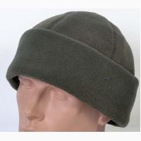 Зимняя однотонная шапка из флиса цвета хаки