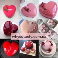 Мини торт сердце 1 кг покрытие зеркальная глазурь муссовый торт Киев на заказ
