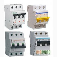 Автоматические выключатели Hager, GE (G63), Moeller (PL4, PL6)