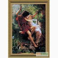 Картина, вышитая крестом: Влюбленные на качелях