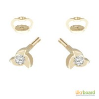 Золотые гвоздики с бриллиантами 0,12 карат. НОВЫЕ (Код: 14808)