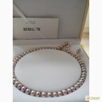 Ожерелье из крупного жемчуга, цвет лаванда