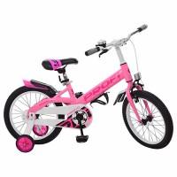 Велосипед детский PROF1 16 дюймов W16115-3 Original, розовый, крылья, звонок, доп.колеса