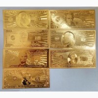 Сувенирные банкноты 100, 50, 20, 10, 5, 2 и 1 доллар США