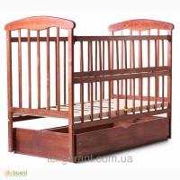 Продам Детская кроватка Наталка маятник+ящик с откидной боковиной(темная)