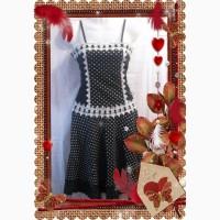 Шикарное платье, чёрное в белый горошек, на девочку, праздничное. 36 р. Дёшево