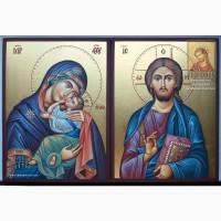 Венчальная пара. Рукописные иконы Божией Матери «Сладкое Лобзание» и Иисуса Христа