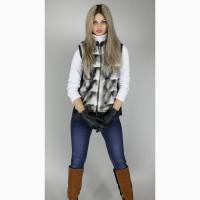 Женская меховая жилетка стойка