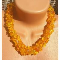 Роскошное янтарное ожерелье, бусы из натурального цельного светлого янтаря