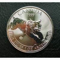 Продам серебряную монету:Канада Хищник. ...
