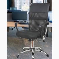 Офисное кресло Оливия D черное сетка колесики