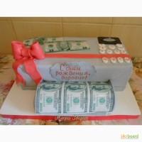 Торт в виде принтера печатающего доллары для папы и брата