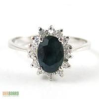 Серебряное кольцо с натуральным сапфиром 0,80 карат и цирконами. НОВОЕ