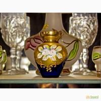 Продам три декоративные вазочки (2 красные, 1 синяя кобальт) богемского стекла, смальта