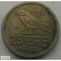 Норвегия 25 эре 1962