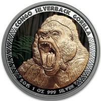 Продам серебряную монету:Конго Горилла. Серебро. Тираж 100 экз. в мире