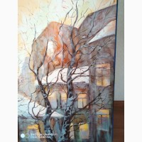 Картина маслом - зимний пейзаж домов