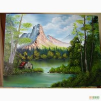 Картина маслом Хатинка в горах 60х80