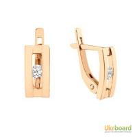 Золотые серьги с бриллиантами 0,20 карат. НОВЫЕ (Код: 14821) Есть и в белом золоте!
