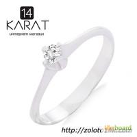 Золотое кольцо с бриллиантом 0, 09 карат. Белое золото. НОВОЕ (Код: 18897)