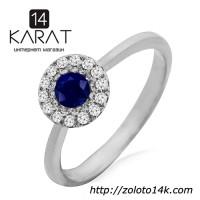 Золотое кольцо с сапфиром и бриллиантами 0, 10 карат. Белое золото. НОВОЕ (Код: 13330)