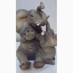 Статуэтки слонов, дерево, керамика