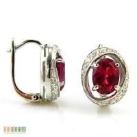 Серебряные серьги с рубинами 3,00 карат и цирконами. НОВЫЕ (Код: 00280)