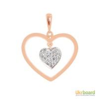 Золотой кулон сердце с бриллиантами 0,15 карат. НОВЫЙ Натуральные бриллианты!