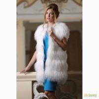 Жилет из меха испанской ламы белого цвета купить в Киеве Днепропетровске Одессе