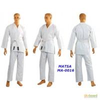 Кимоно для карате белое MATSA МА-0016 130-190см плотность 240г на м2
