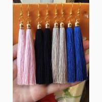 Hand-made серьги-кисти из натурального шелка