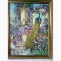 Продам картина вышитая крестиком Павлин