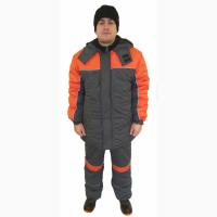 Куртка рабочая утепленная Профи, серая с оранжевой отделкой