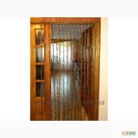Шторы на дверь деревянные Кольца