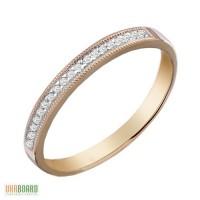Золотое кольцо с бриллиантами 0,12 карат 17,5 мм. НОВОЕ (Код: 17924)