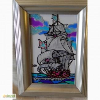 Витражная картина «Парусный фрегат »