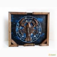 Интерьерное панно Знак зодиака Рак Подарок мужчине Раку в стиле стимпанк Ручная работа