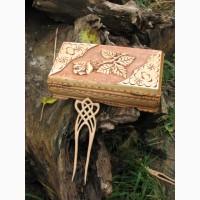 Заколка деревянная вырезанная из вишни