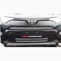 Предлагаем решетку в бампер (защита) для Toyota Rav 4 2017-2018 (серебро, черная)