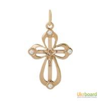 Золотой крестик с бриллиантами 0,08 карат. НОВЫЙ (Код: 16818)