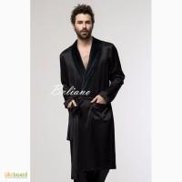 Мужской двухсторонний халат шелк-махра черного цвета. Натуральный шелк Люкс