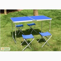 Набор складной стол и стулья, столик для пикника складной алюминиевый купить